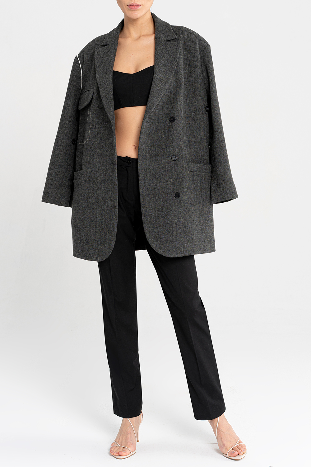 Wrap jacket with contrast trims