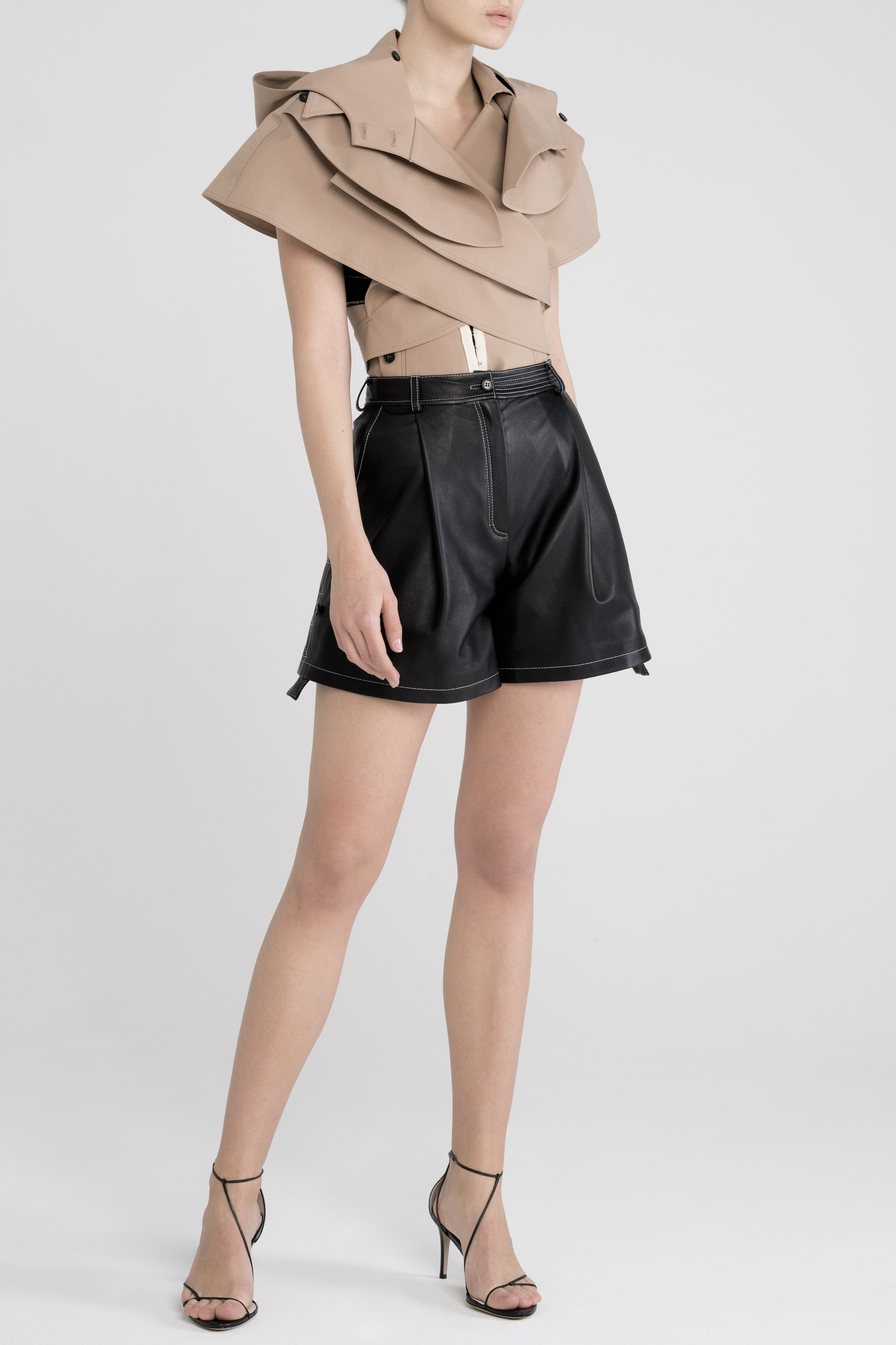 Leather stitched shorts