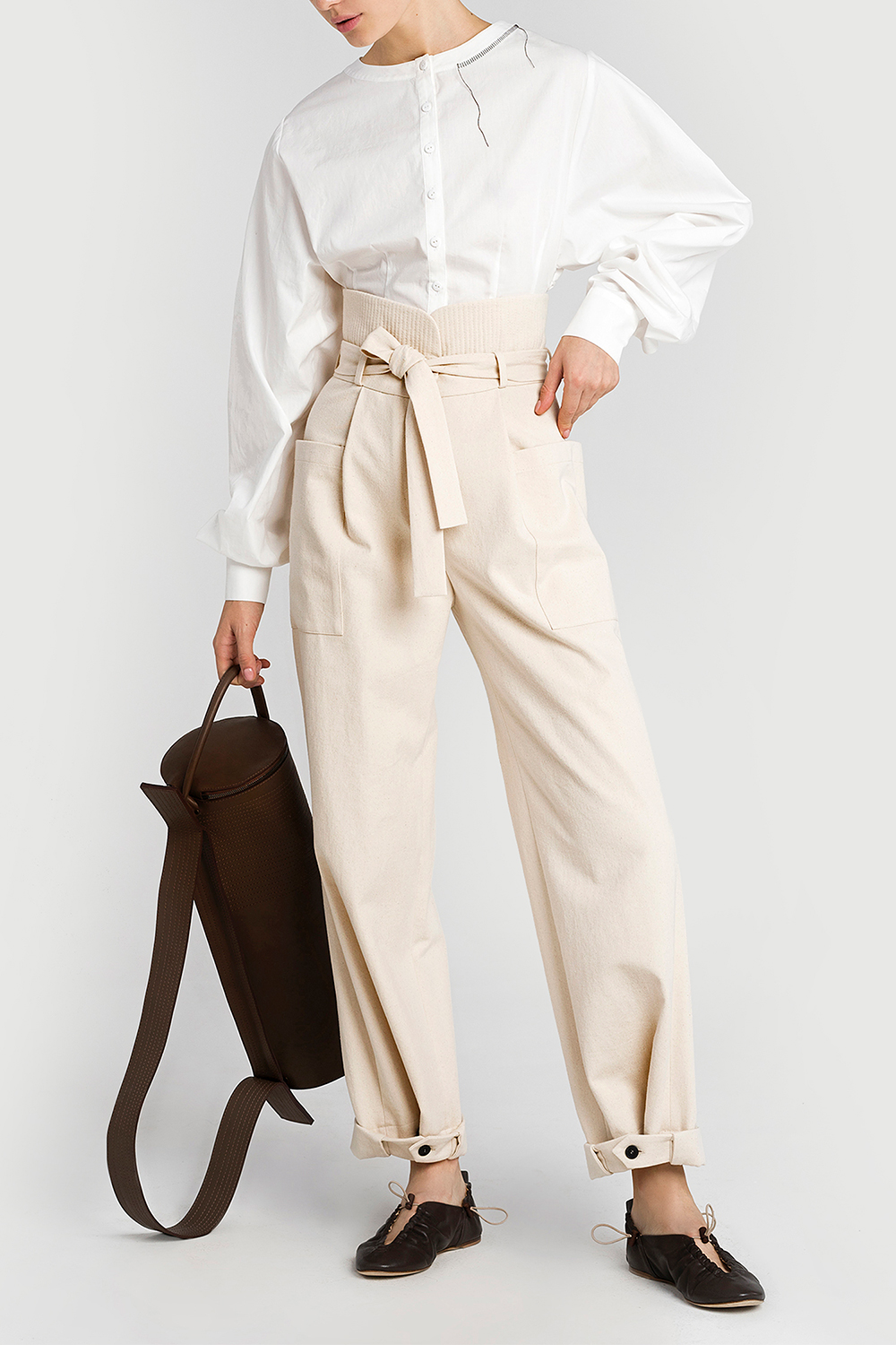 Cargo trousers with stitched belt