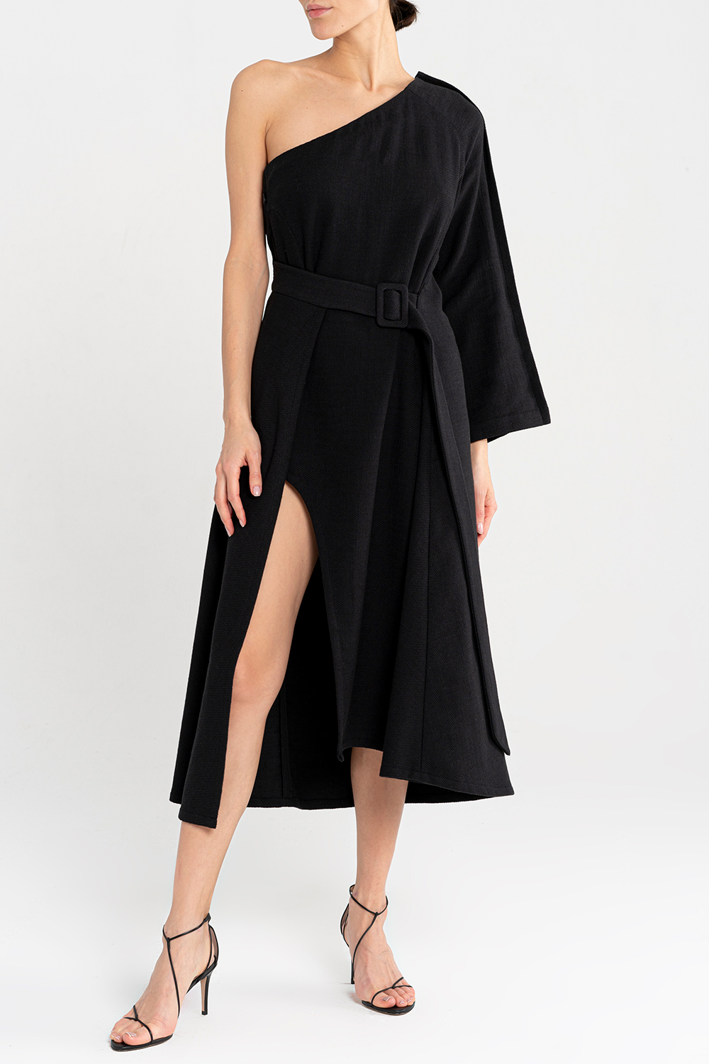Textured cotton one-shoulder dress