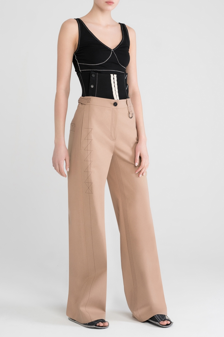 Cotton twill wide leg trousers