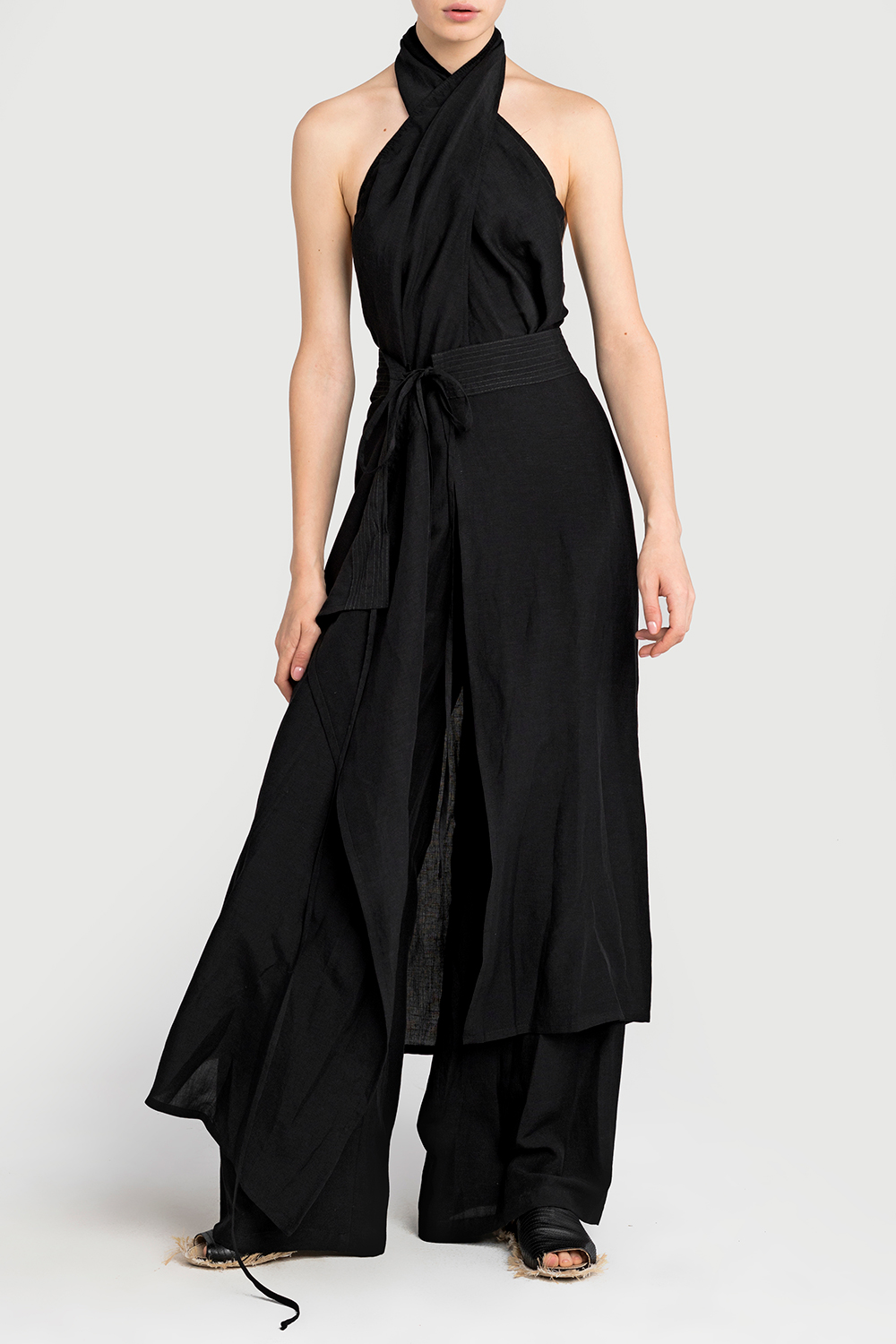 Open back jumpsuit with detachable skirt