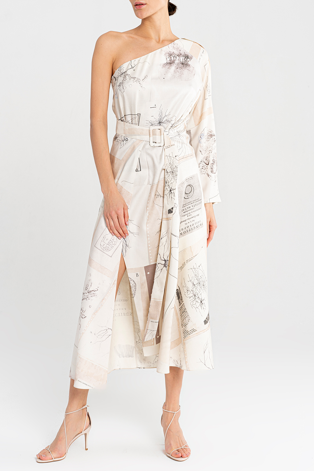 One-shoulder printed silk dress