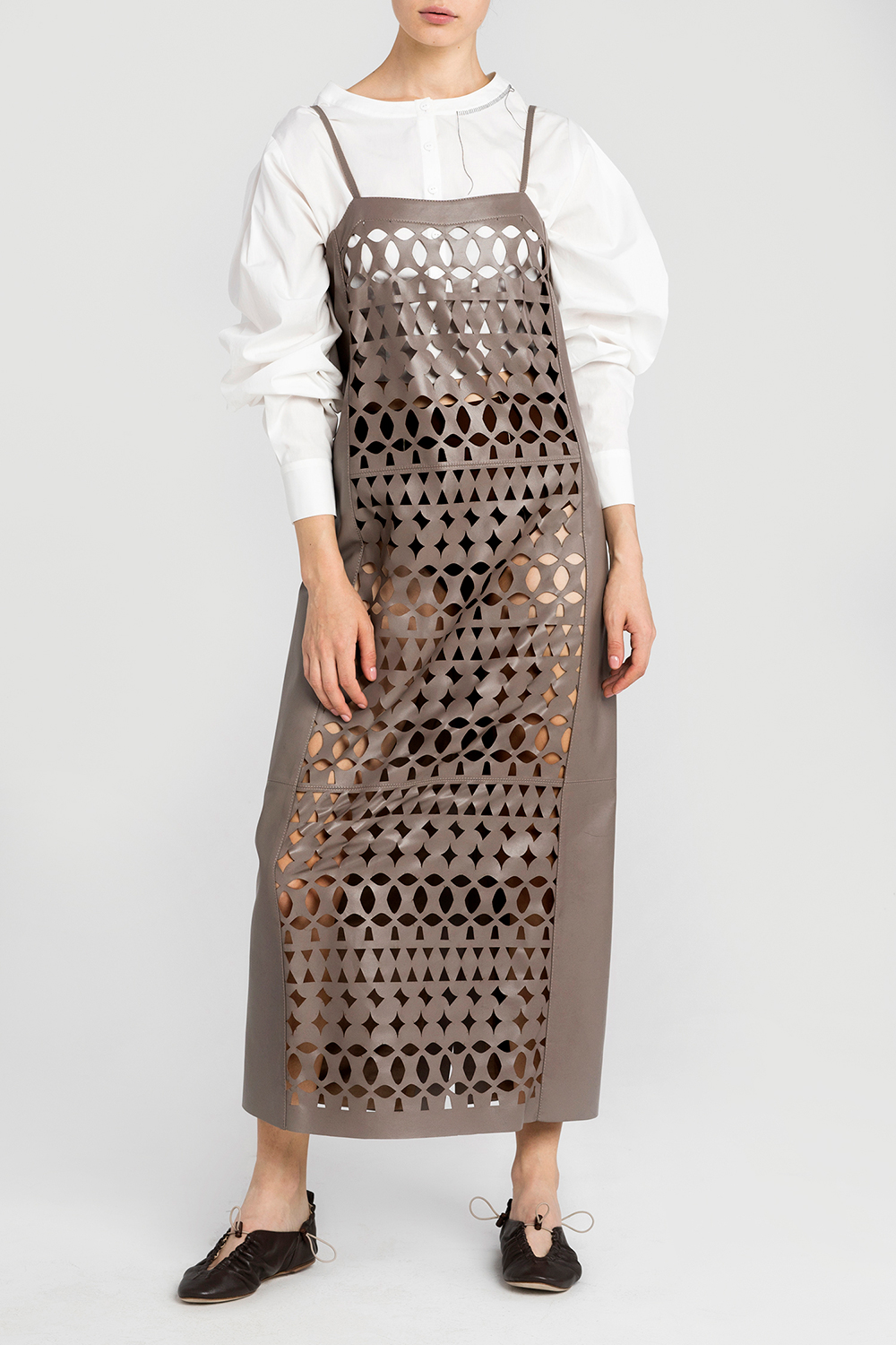Leather dress with ornamental cutouts