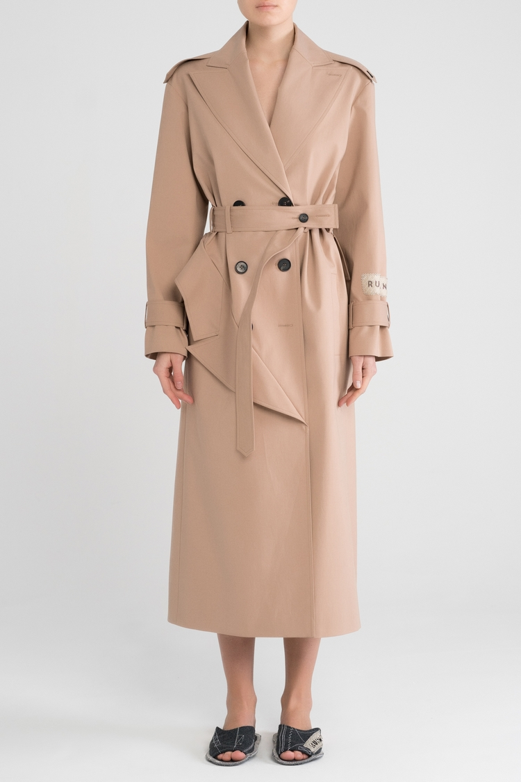 meticulous dyeing processes purchase original classic shoes Trench coat with peplum